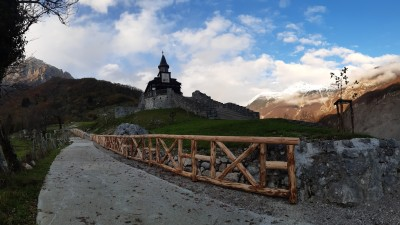 Renovated road to the Church of the Holy Spirit Javorca
